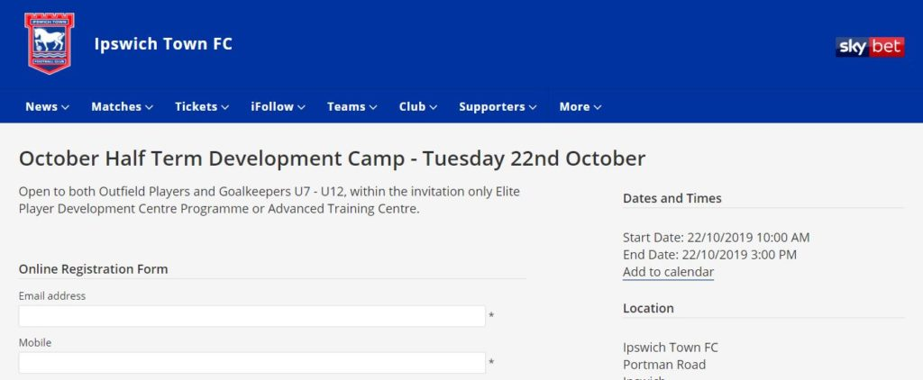 Ipswich Town Community Trust Booking Form